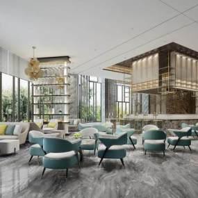 现代酒店餐厅3D模型【ID:736067205】