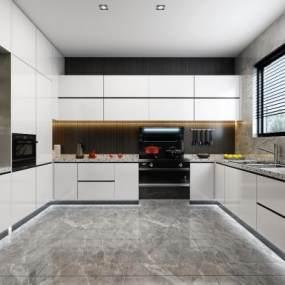 现代厨房橱柜组合 3D模型【ID:539706363】