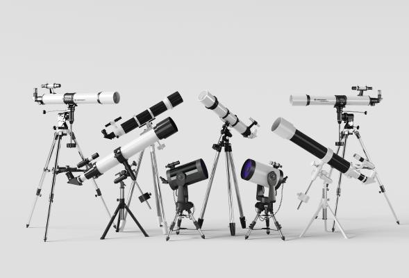 現代望遠鏡組合3D模型【ID:332105616】