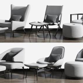 现代单人沙发脚踏组合3D模型【ID:634676478】