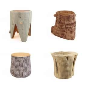 新中式木头木桩矮凳3D模型【ID:735472614】