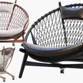 现代户外圆圈藤编织椅3D模型【ID:738169563】