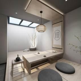 新中式茶室3D模型【ID:635606162】