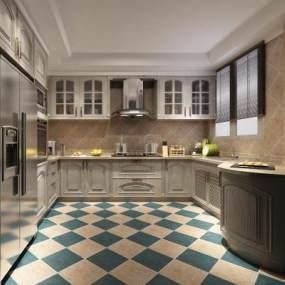 欧式简约厨房3D模型【ID:535762373】