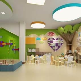 现代幼儿园教室3D模型【ID:953382653】