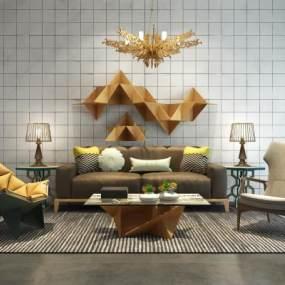 现代沙发茶几墙饰吊灯3D模型【ID:632172758】