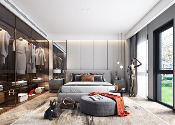 现代轻奢卧室组合3D模型【ID:543445277】