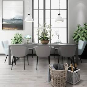 北欧餐桌椅吊灯盆栽组合3D模型【ID:730514125】