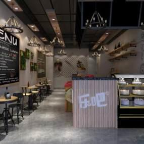 工业风咖啡厅3D模型【ID:643796338】