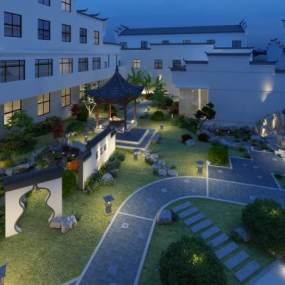 新中式庭院景观3D模型【ID:145600469】