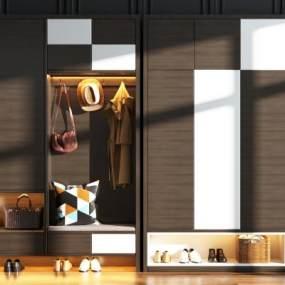現代鞋柜裝飾柜組合3D模型【ID:148722265】