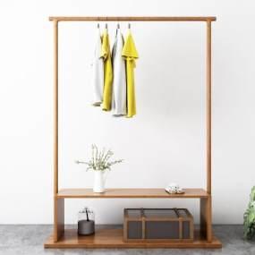 現代原木衣架飾品3D模型【ID:134710421】