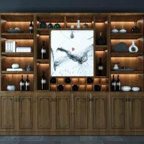 新中式酒柜3D模型【ID:634696247】