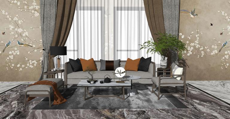 新中式风格组合沙发SU模型【ID:452913123】