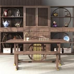 新中式茶桌3D模型【ID:949136518】