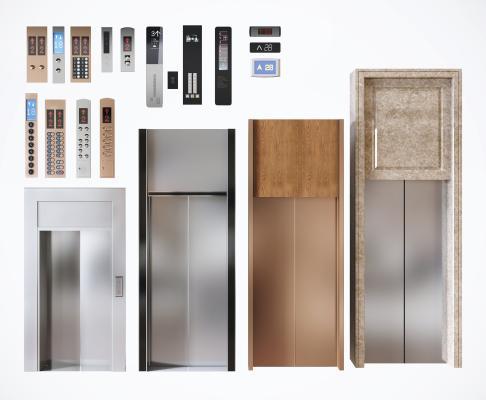 現代電梯門電梯按鍵組合3D模型【ID:445247039】