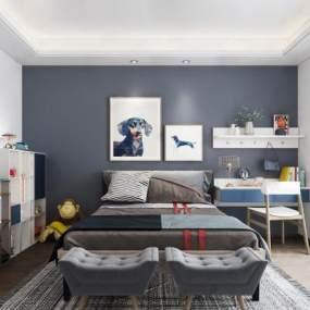 现代儿童房卧室 3D模型【ID:542372204】