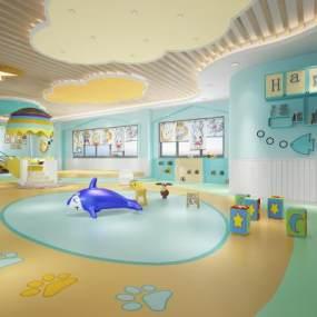 現代幼兒園活動室3D模型【ID:951046646】