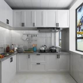 现代厨房 3D模型【ID:542296307】