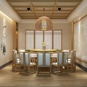 日式餐厅包间3D模型【ID:634771841】