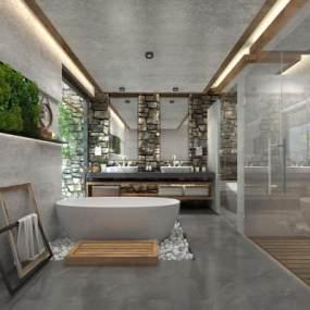 現代衛浴空間3D模型【ID:443632168】