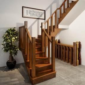 实木楼梯中式楼梯楼梯栏杆3D模型【ID:332687597】