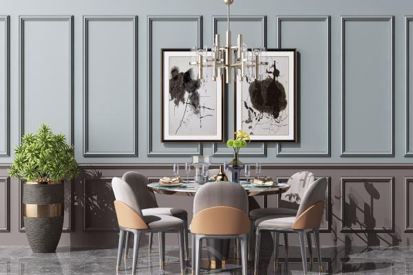 现代圆形餐桌椅组合 金属水晶吊灯 装饰挂画组合