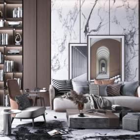 现代轻奢北欧简约沙发椅子茶几组合3D模型【ID:645315775】