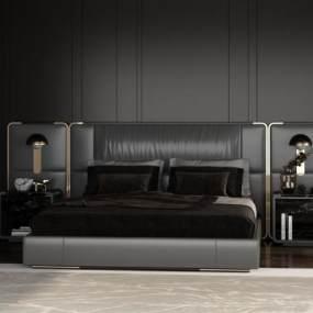 现代卧室双人床3D模型【ID:853582723】