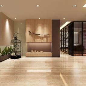 新中式酒店走廊3D模型【ID:753223420】