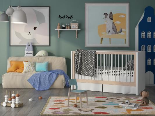 北歐嬰兒床3D模型【ID:843016617】