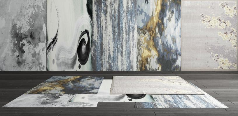 新中式地毯組合3D模型【ID:346345224】