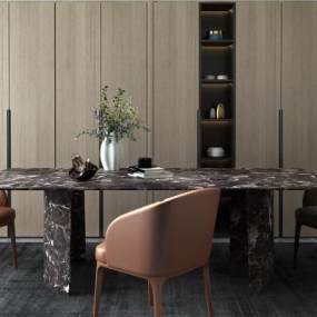 现代轻奢餐桌3D模型【ID:849154810】