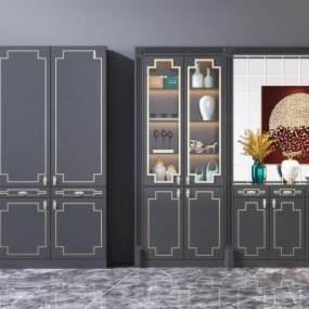 新中式酒柜餐边柜组合3D模型【ID:653342235】