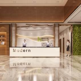 现代牙科医院前台大厅3D模型【ID:935411706】
