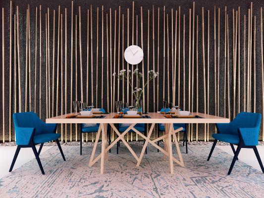 現代餐廳餐桌椅組合3D模型【ID:743206159】