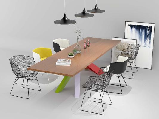 工业风会议桌椅休闲桌椅组合3D模型【ID:930934169】