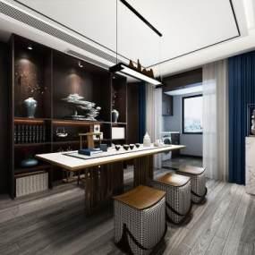 新中式茶室空间3D模型【ID:636244109】
