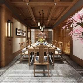 新中式餐厅包房3D模型【ID:634711226】