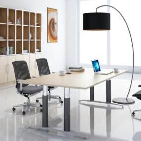 現代辦公桌椅書柜組合3D模型【ID:949467095】
