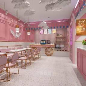 现代奶茶店3D模型【ID:653101425】