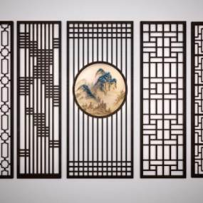 新中式雕花隔断3D模型【ID:330676796】