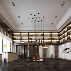 现代酒店接待区3D模型【ID:633096589】