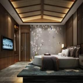 新中式酒店生命客房 3D模型【ID:741999332】