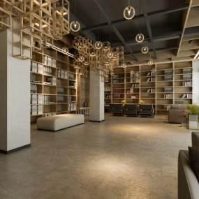 新中式阅览室3D模型【ID:931093857】