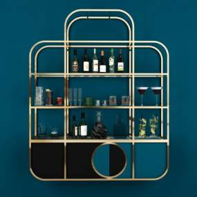 现代金属简约装饰柜架3D模型【ID:150569184】