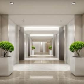 现代风格电梯厅3D模型【ID:943568578】