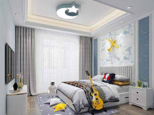 北欧卧室小孩房3D模型【ID:553202725】