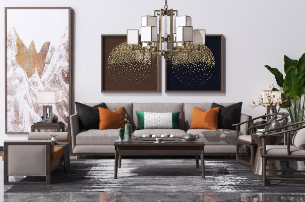 新中式沙发茶几 装饰挂画 植物盆栽