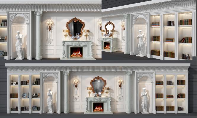 歐式壁爐裝飾柜組合3D模型【ID:132690150】